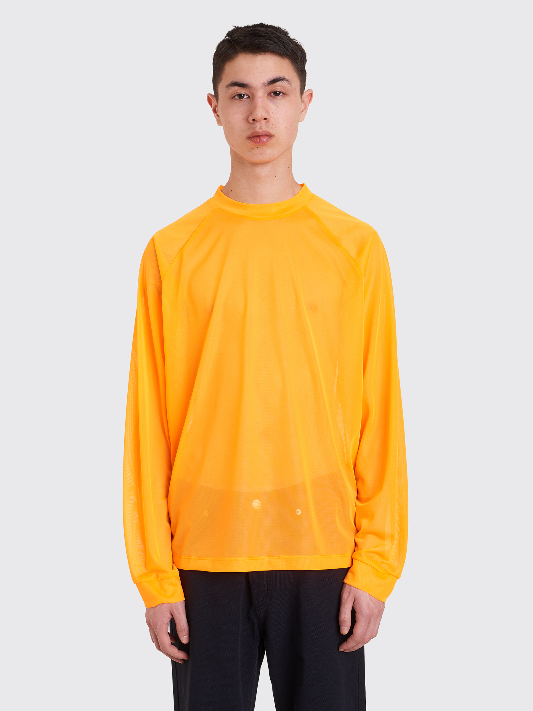 Tres Bien Acne Studios Mesh Long Sleeve T Shirt Neon Orange