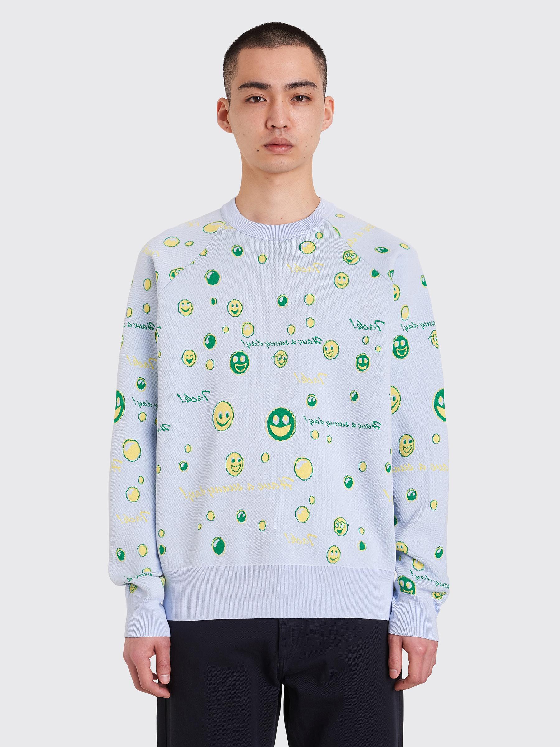 9d1269d4231 Très Bien - Acne Studios Kiran Knitted Sweater 3D Jacquard Pale Blue