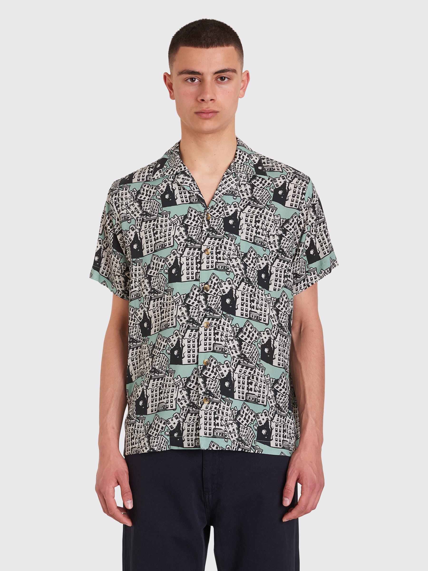 b20d40b4d49 Très Bien - Brain Dead Aloha Buildings Shirt Mint   Black