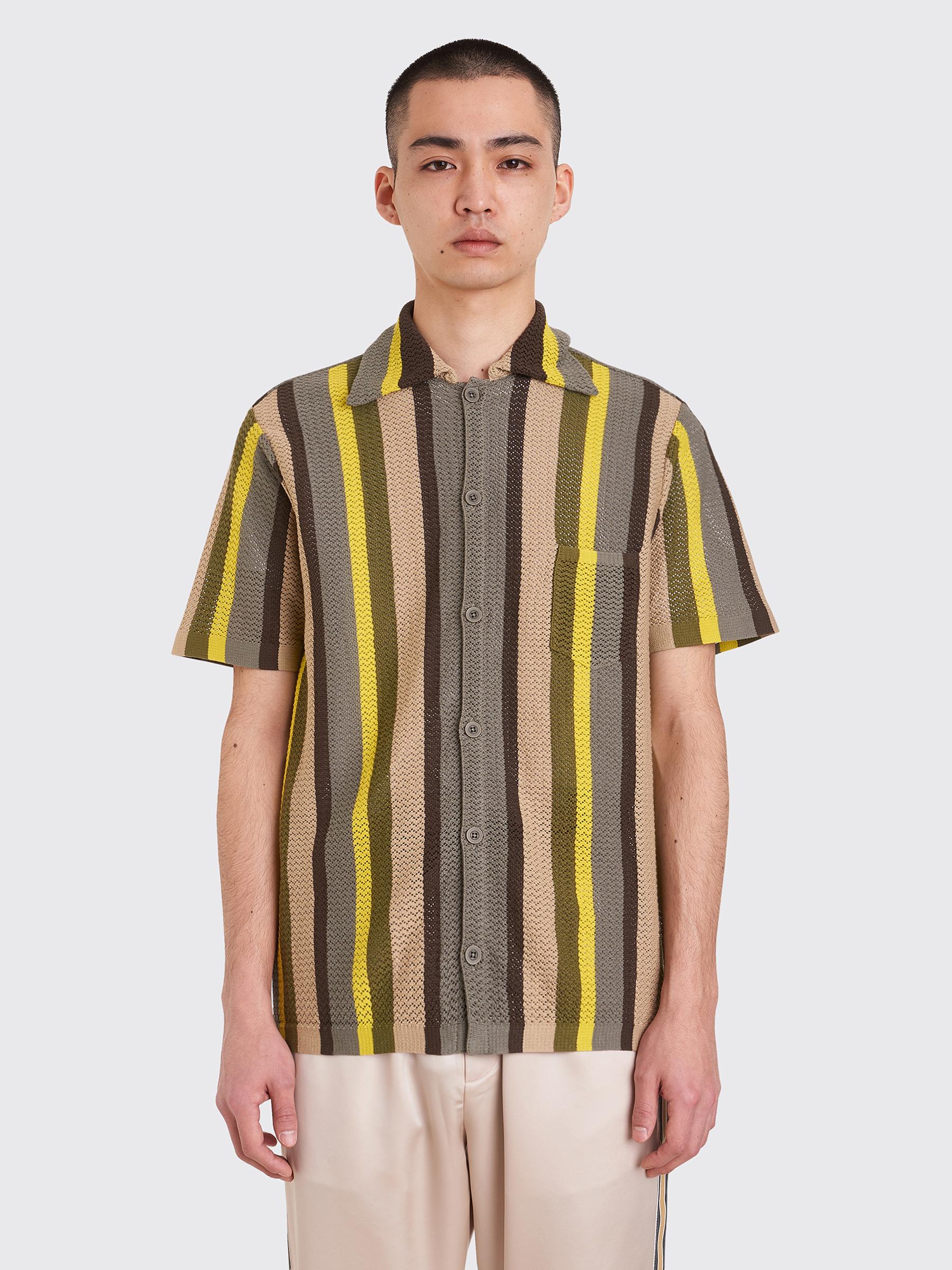 d9b796dc63 Très Bien - CMMN SWDN Wes Knitted Shirt Stripe Green