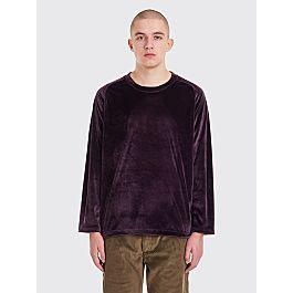 needles-u-neck-ls-velour-t-shirt-purple by très-bien