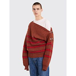 Raf Simons Boatneck Sweater With Buckles Terra Wine by Très Bien