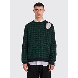 Raf Simons Knitted Jacquard Sweater Metallic Dark Green by Très Bien