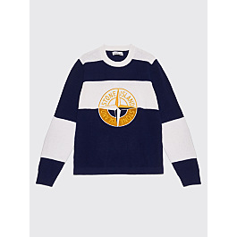 Stone Island Knitted Stripe Logo Sweater Ink / White by Très Bien
