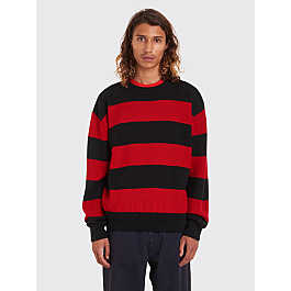 Très Bien Drop Shoulder Knit Stripe Merino Wool Black / Red by Très Bien