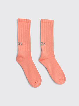 032c Reflective Logo Socks Ex Neon Coral