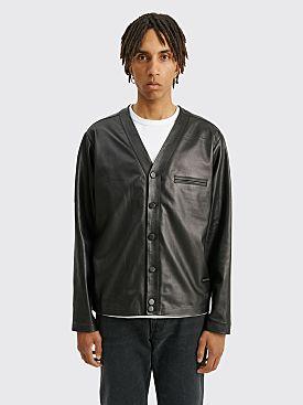 4SDESIGNS Leather Cardigan Jacket Black
