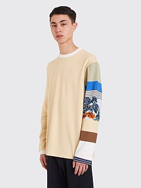 Acne Studios Patchwork Sleeve T-shirt Oat Beige
