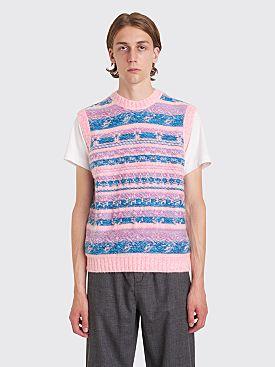 Acne Studios Krog Knitted Jacquard Vest Bright Pink