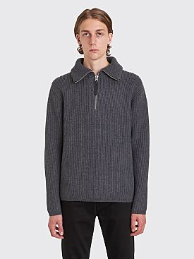 Acne Studios Korman Half Zip Wool Sweater Dark Grey Melange