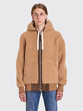 Acne Studios Leander Hooded Shearling Jacket Almond Beige