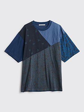 Acne Studios Extorr Floral Print Patchwork T-shirt Blue