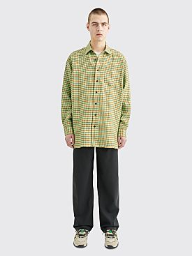 Acne Studios Atlent Picnic Check Linen Shirt Spearmint / Toffee Brown