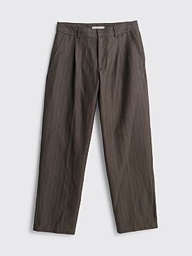 Acne Studios Paul Wool Check Trousers Grey / Brown