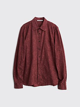 Acne Studios Seatac Flower Jacquard Overdye Shirt Burgundy