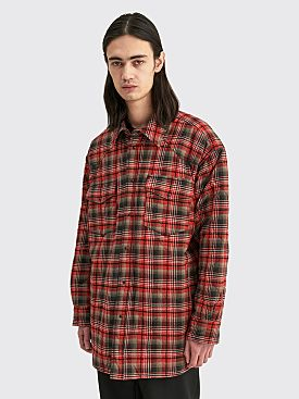 Acne Studios Quilted Overshirt Dark Grey / Red