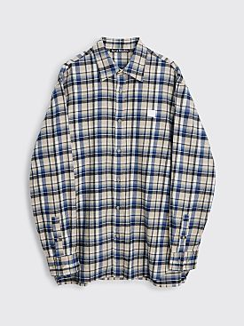 Acne Studios Face Flannel Shirt Oat Beige / Blue