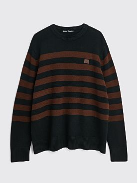 Acne Studios Face Striped Wool Sweater Black / Brown