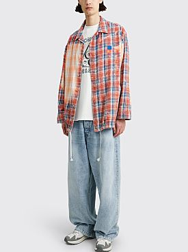 Acne Studios Face Oversized Flannel Overshirt Pink / Blue