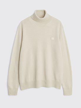 Acne Studios Face Wool Turtleneck Sweater Cream Beige