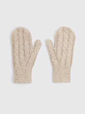 Acne Studios Cable Knit Mittens Biscuit Beige