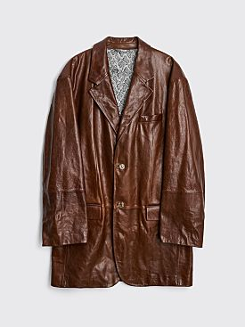 Acne Studios Leather Suit Jacket Caramel Brown