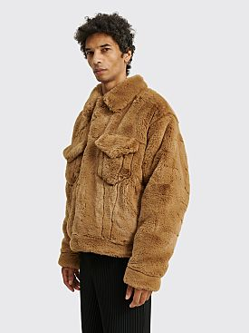 Acne Studios Boxy Faux Fur Jacket Beige