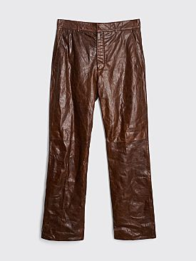 Acne Studios Leather Trousers Caramel Brown