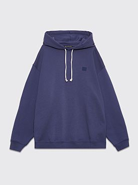 Acne Studios Farrin Face Hooded Sweatshirt Denim Blue