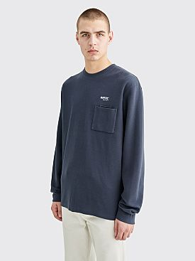 AFFIX Double Chest Pocket LS Waffle T-shirt Dark Grey