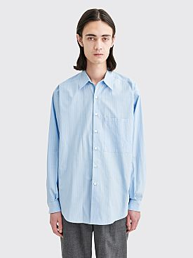 Auralee Washed Finx Twill Big Shirt Blue Stripe