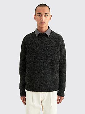 Auralee Alpaca Wool Super Light Knit Big P/O Top Charcoal