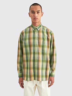 Auralee Super Light Wool Check Shirt Green Check