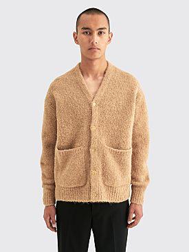Auralee Alpaca Wool Super Light Knit Big Cardigan Top Beige
