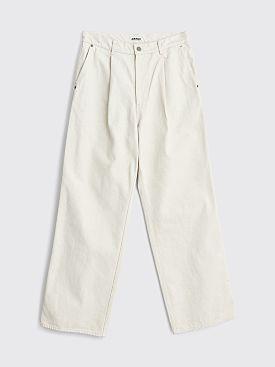 Auralee Hard Twist Wide Denim Slacks White / Ivory