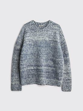 Auralee Wool Alpaca Felt Knit P/O Mix Dark Blue