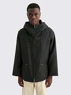 Auralee Bluefaced Wool Double Cloth Zip Hoodie Jacket Mix Charcoal