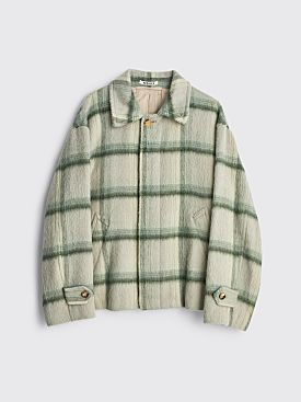 Auralee Suri Alpaca Shaggy Check Blouson Gray Green Check