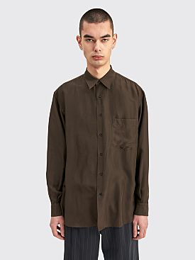 Auralee Light Silk Shirt Dark Brown