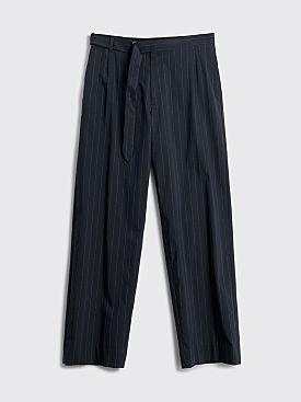 Auralee Finx Nylon Stretch Wide Slacks Navy Stripe