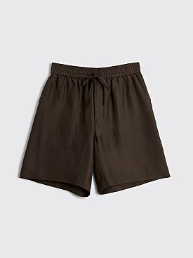 Auralee Light Silk Shorts Dark Brown