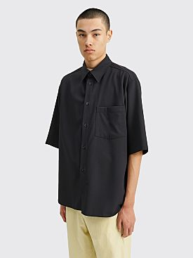Auralee Hard Twist Wool Dobby Half Sleeved Shirt Dark Navy