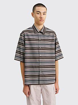 Auralee Wool Poly Border Half Sleeved Shirt Light Grey