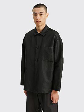 Auralee Silk Linen Dobby Shirt Jacket Black