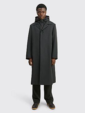 Auralee Wool Max Gabardine Hooded Liner Coat Dark Navy