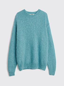 Auralee Brushed Super Kid Mohair Knit P/O Sweater Turquoise Blue
