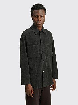 Auralee Cashmere Wool Bushed Jersey Big Shirt Top Charcoal