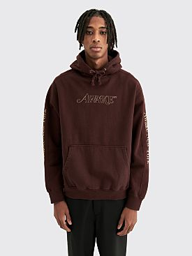 Awake NY Classic Outline Logo Paneled Embroidered Hoodie Brown