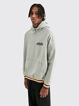 Awake NY Blocked Logo Hoodie Stripe Rib Grey