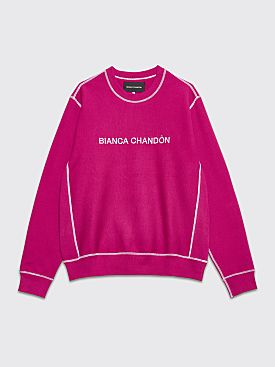 Bianca Chandôn Contrast Stitch Logotype Crew Neck Sweatshirt Rasberry